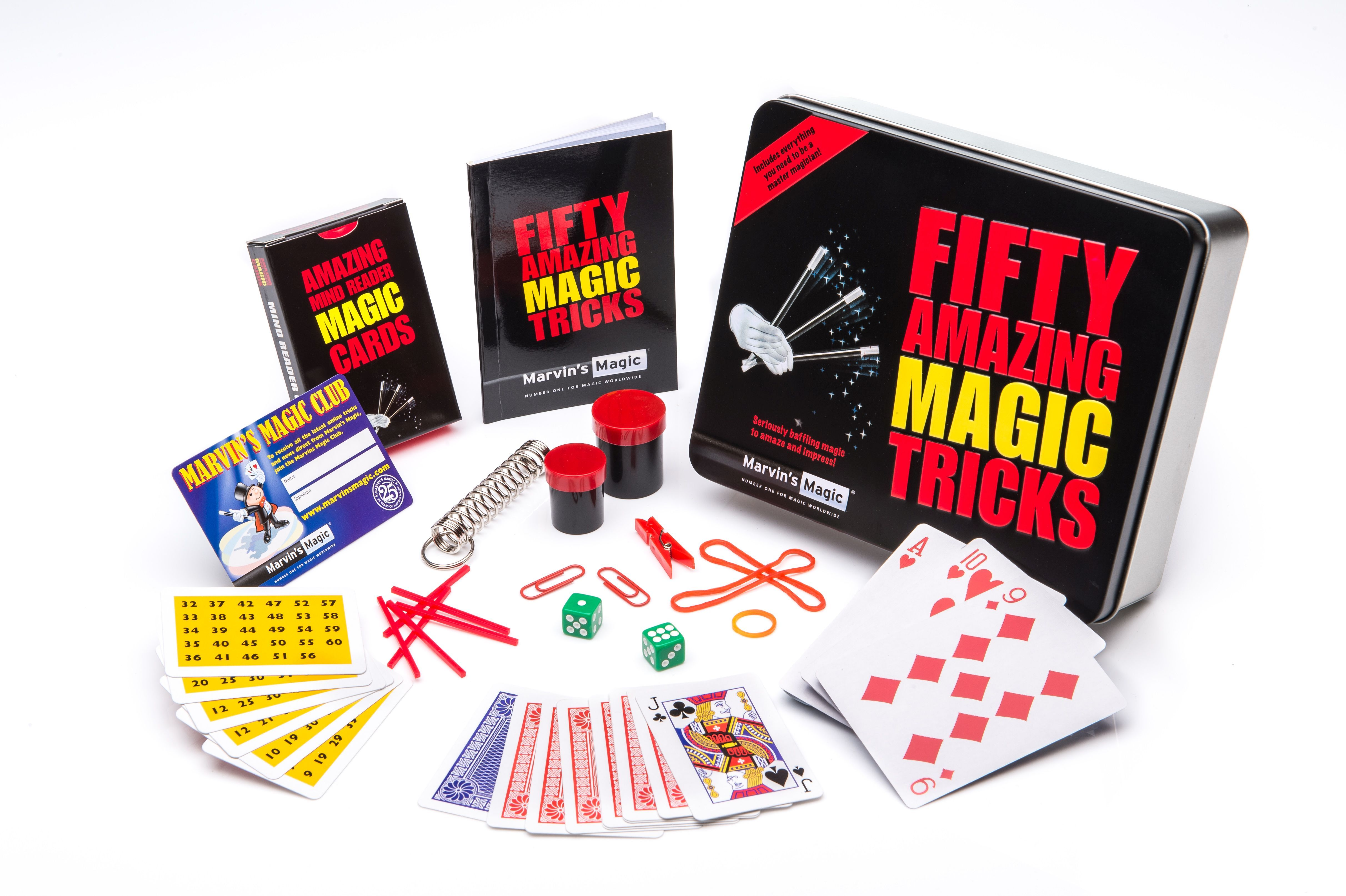 Open display showing contents of Marvins Magic 50 amazing magic tricks tin