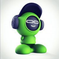 Fun kids Bluetooth speaker shaped like a cartoon boy wearing a baseball cap