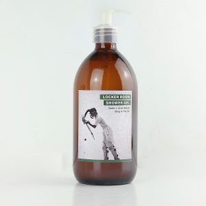 Made in the UK shower gel with cricket image