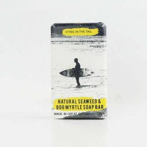Natural soap bar with surf image